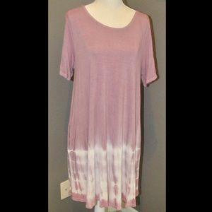 Mauve tie dye T-shirt dress with pockets large